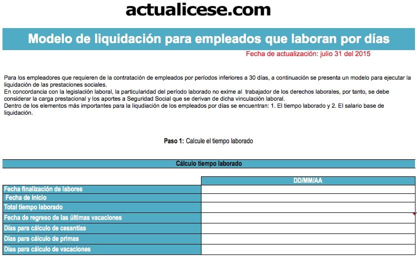 [Liquidador] Modelo liquidación trabajadores periodos inferiores a 30 días
