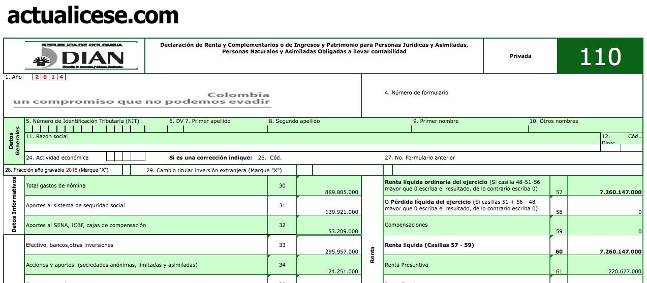 Formularios 110 y 240 con anexos y formato 1732 para declaración de renta de persona natural comerciante año gravable 2014