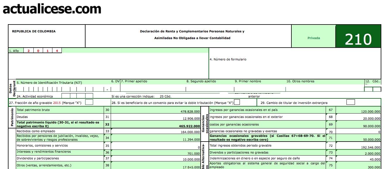 Formularios 210 y 230 con anexos de persona natural para declaración de renta año gravable 2014