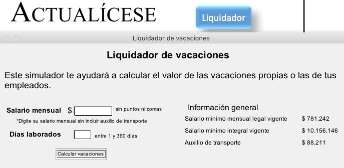 [Liquidador] Liquidador de vacaciones
