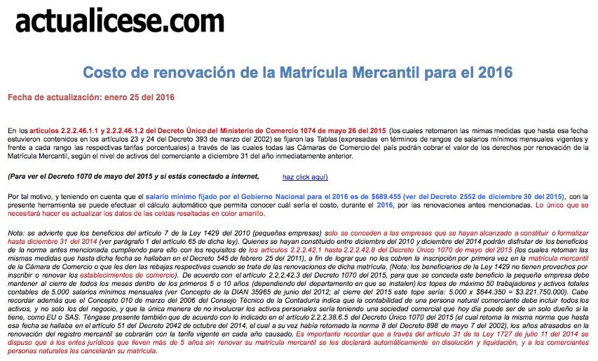 Costo de renovación de la Matrícula Mercantil para el 2016