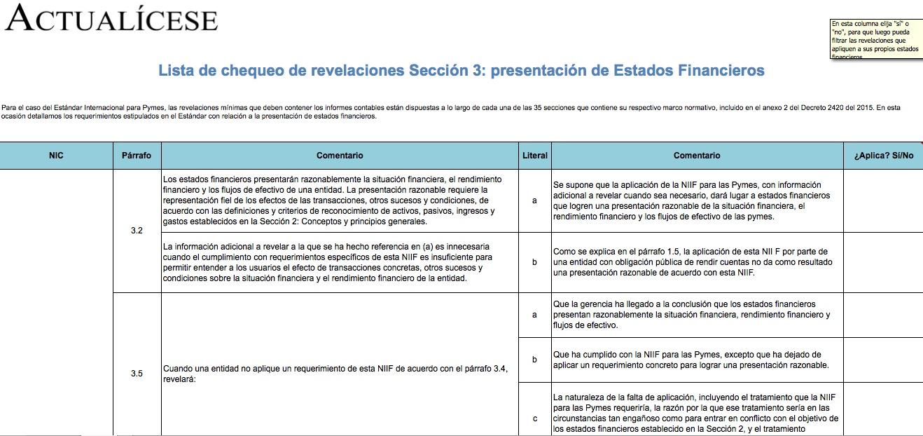 [Guía] Lista de chequeo de revelaciones Sección 3: presentación de Estados Financieros