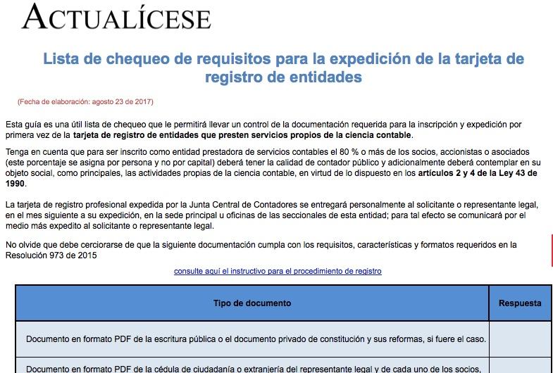 [Guía] Lista de chequeo de requisitos para la expedición de la tarjeta de registro de entidades