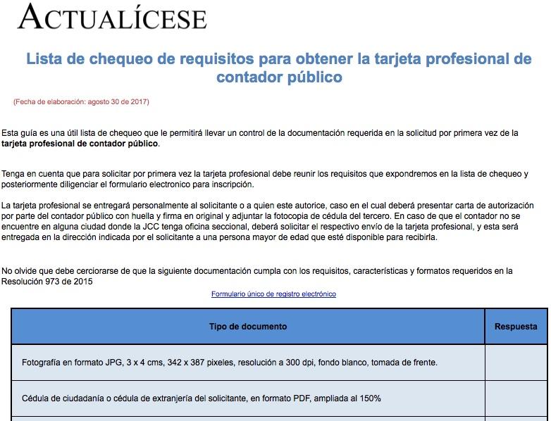 Requisitos tarjeta profesional de contador público