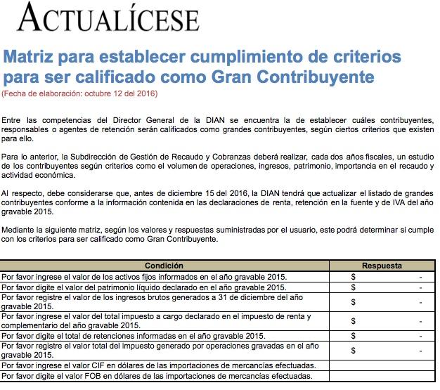 [Guía] Matriz para establecer cumplimiento de criterios para ser calificado como Gran Contribuyente