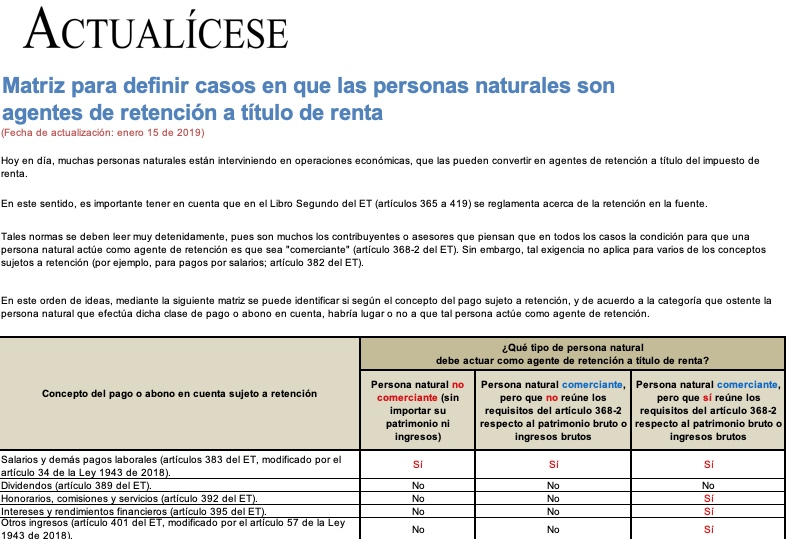 [Guía] Matriz para definir casos en que las personas naturales son agentes de retención a título de renta