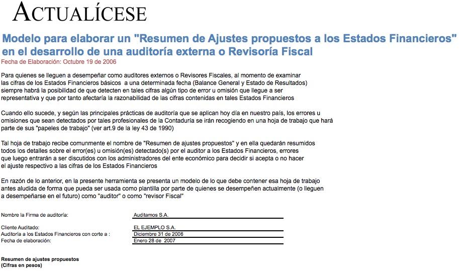 [Liquidador] Modelo para elaborar un Resumen de Ajustes propuestos a los Estados Financieros en el desarrollo de una auditoría externa o Revisoría Fiscal