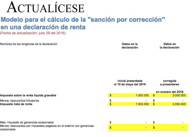"""[Liquidador] Modelo para el cálculo de la """"sanción por corrección"""" en una declaración de renta"""