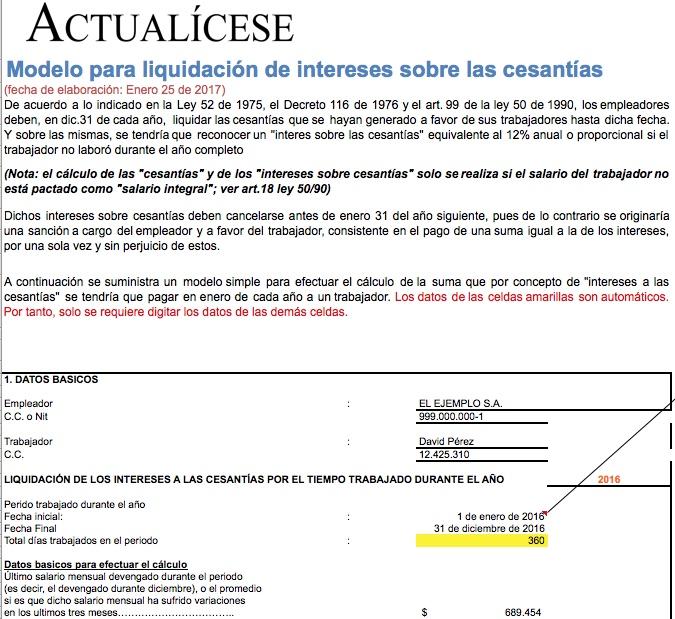 [Liquidador] Modelo cálculo de intereses sobre las cesantías
