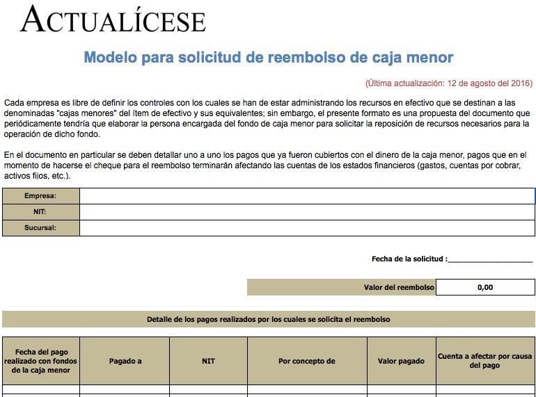 [Liquidador] Modelo para solicitud de reembolso de caja menor