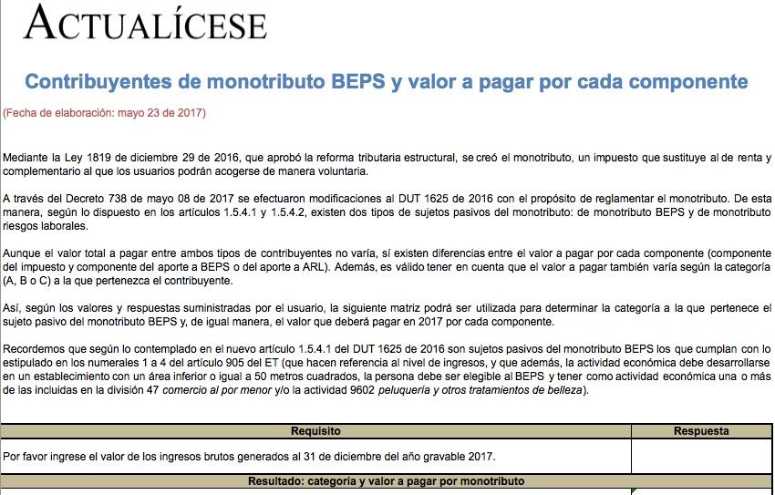 [Guía] Contribuyentes de monotributo BEPS y valor a pagar por cada componente