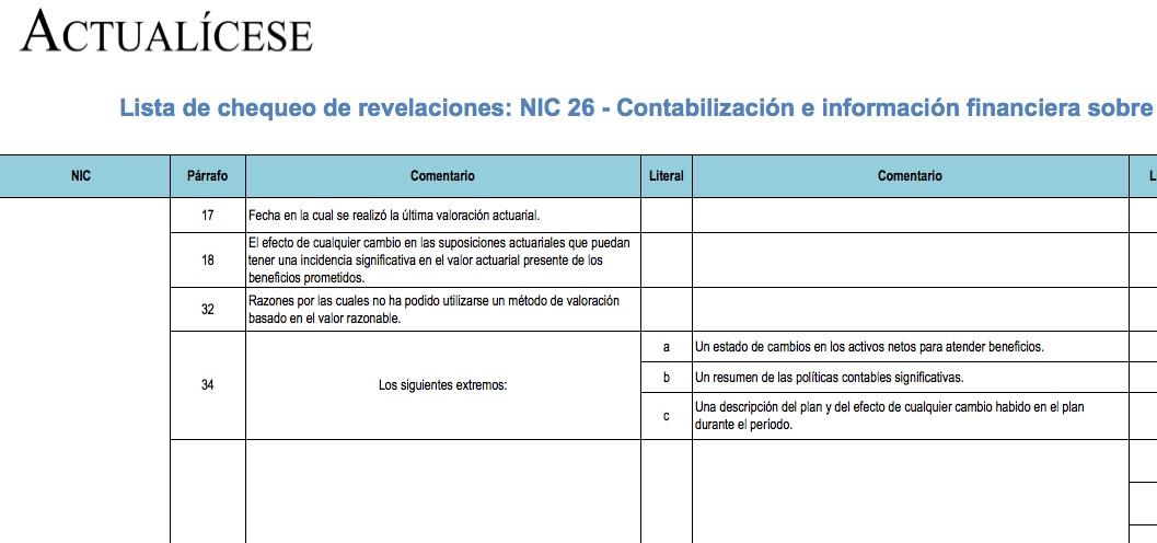 [Guía] Lista de chequeo de revelaciones: NIC 26 – Contabilización e información financiera sobre planes de beneficio por retiro
