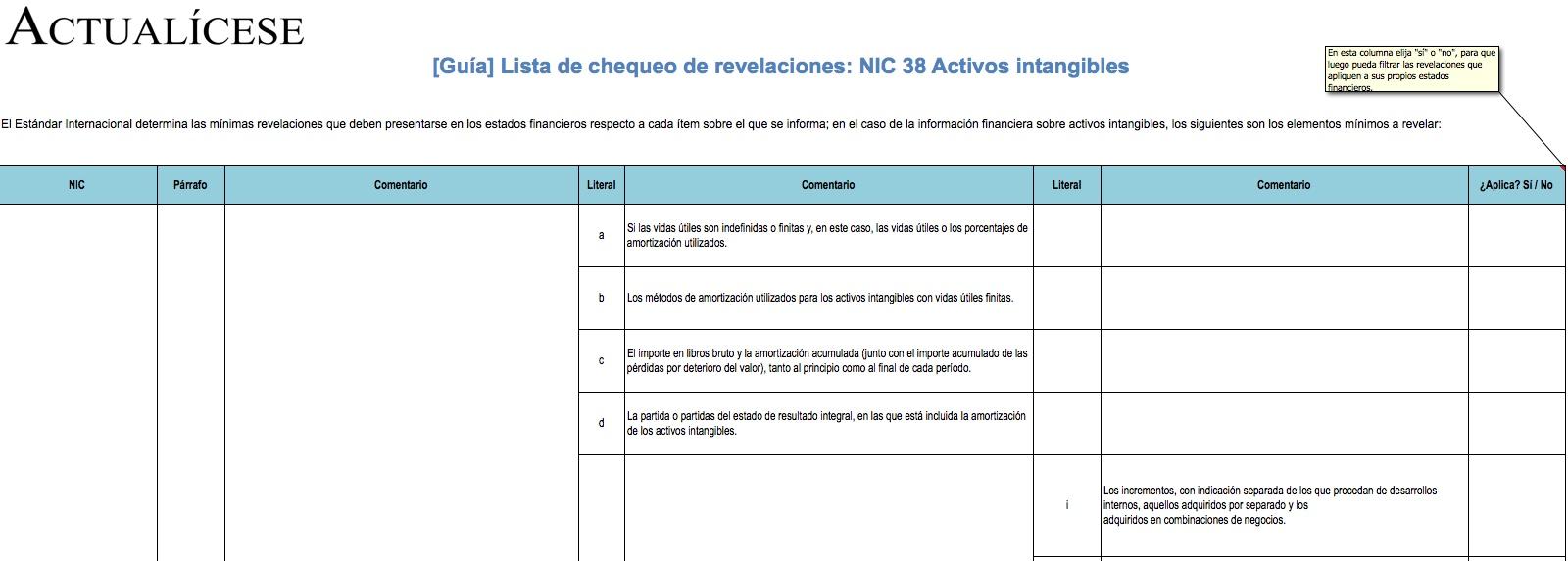 [Guía] Lista de chequeo de revelaciones: NIC 38 Activos intangibles