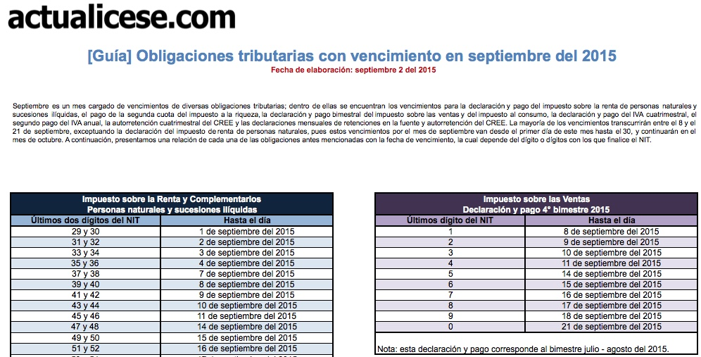 [Guía] Obligaciones tributarias con vencimiento en septiembre del 2015