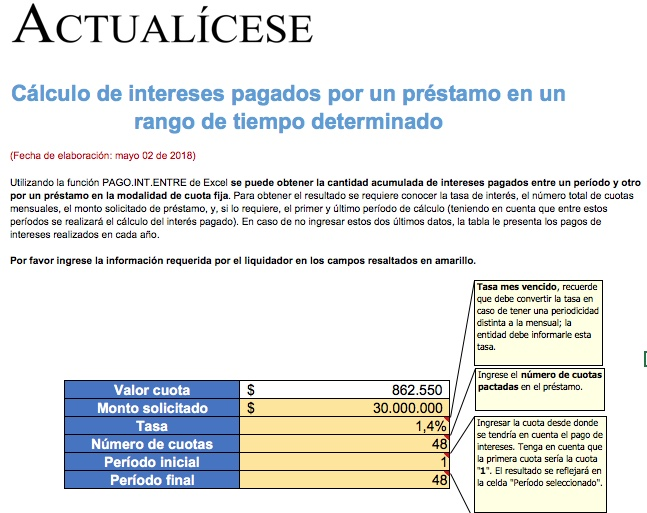 Cálculo de intereses pagados por un préstamo en un rango de tiempo determinado