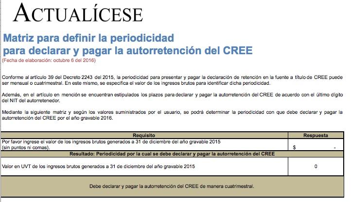[Guía] Matriz para definir la periodicidad para declarar y pagar la autorretención del CREE