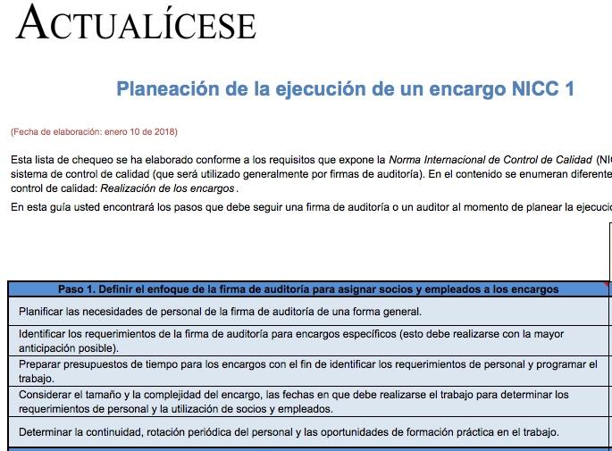 Planeación de la ejecución de un encargo NICC 1