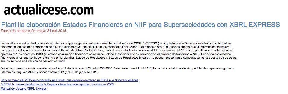Plantilla elaboración Estados Financieros en NIIF para Supersociedades con XBRL EXPRESS