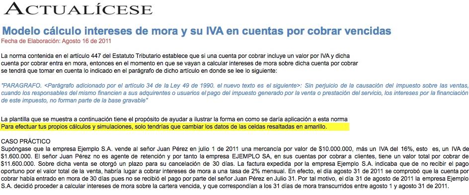 [Liquidador] Cálculo de intereses de mora y su IVA en cuentas por cobrar vencidas