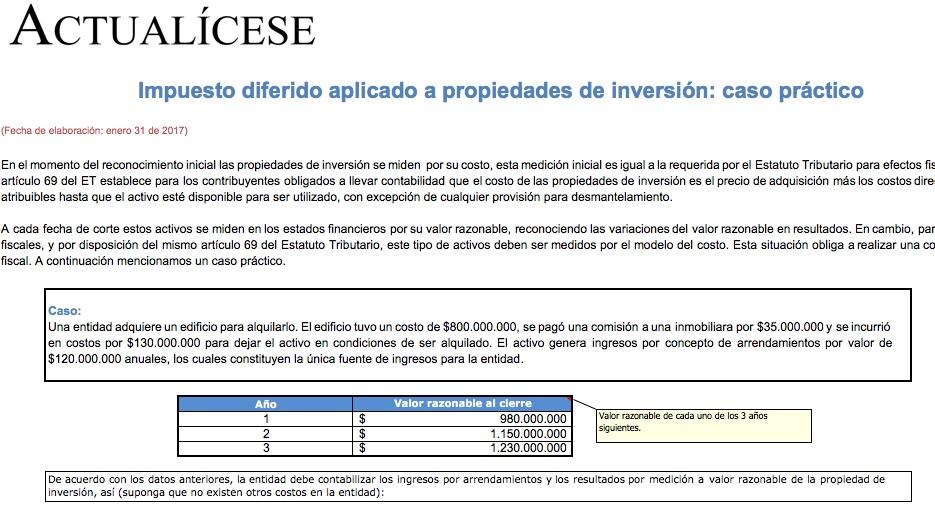 Impuesto diferido aplicado a propiedades de inversión: caso práctico