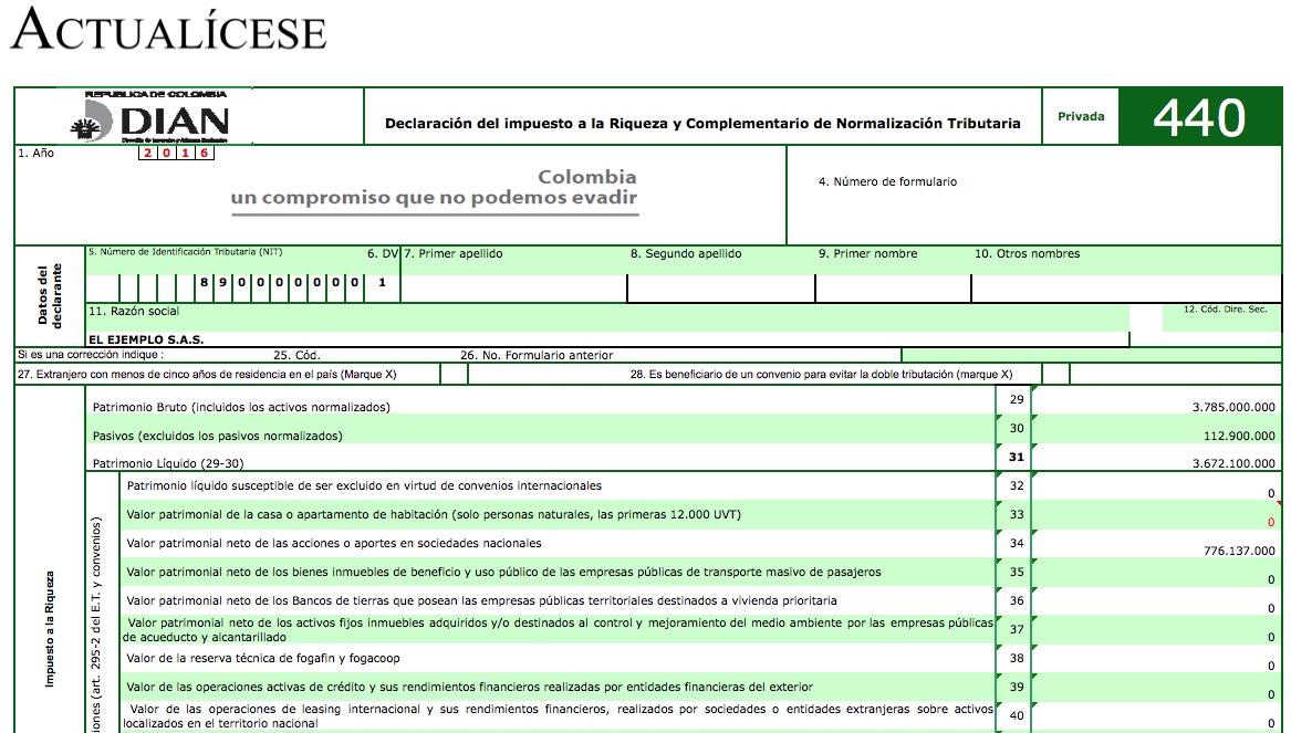 Modelo básico para proyectar el impuesto a la riqueza 2015 a 2018 y su complementario de normalización tributaria