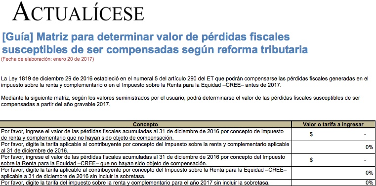 Matriz para determinar valor de pérdidas fiscales susceptibles de compensación según reforma
