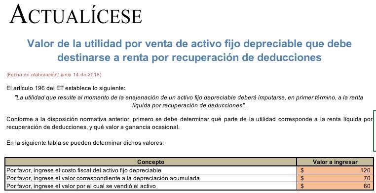 [Liquidador] Utilidad por venta de activo fijo depreciable que será renta por recuperación de deducciones