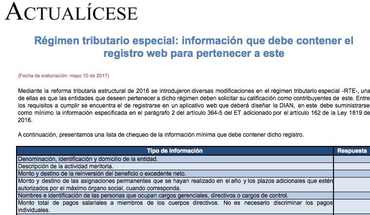 Régimen tributario especial: información que debe contener el registro de inscripción
