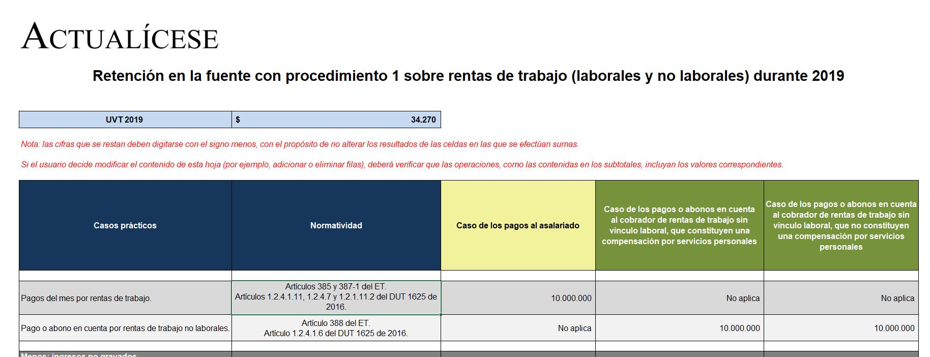 Retención en la fuente con procedimiento 1 sobre rentas de trabajo durante 2019