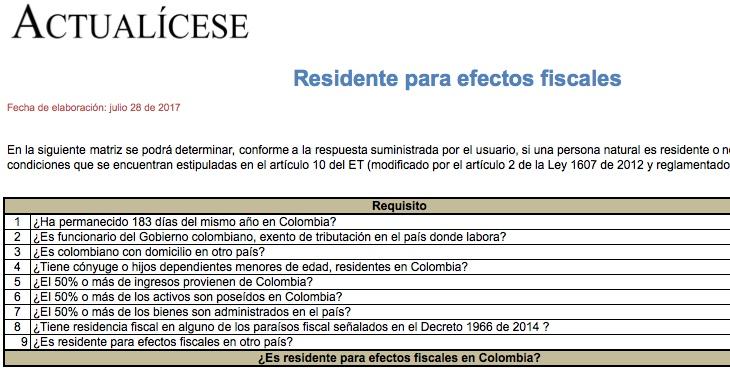 [Matriz] Residente para efectos fiscales