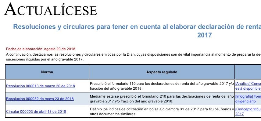 [Guía] Resoluciones y circulares para declaración de renta de personas naturales año gravable 2017