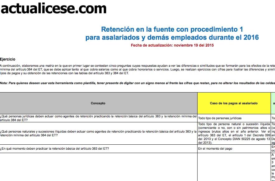 Retención en la fuente con procedimiento 1 para asalariados y demás empleados durante el 2016