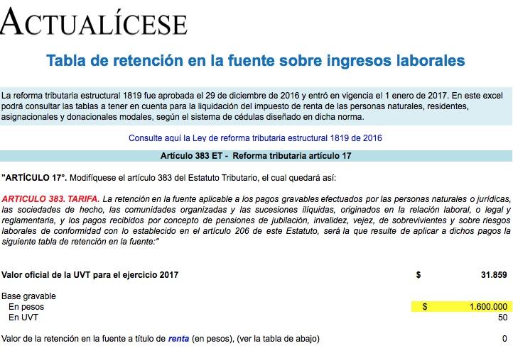 [Formato] Tabla de retención en la fuente sobre ingresos laborales