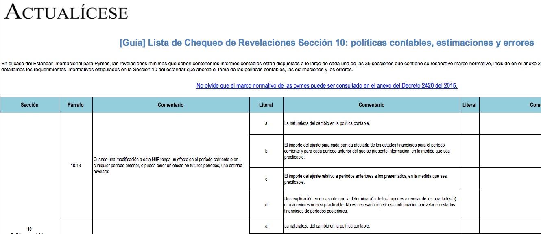 [Guía] Lista de Chequeo de Revelaciones Sección 10: políticas contables, estimaciones y errores