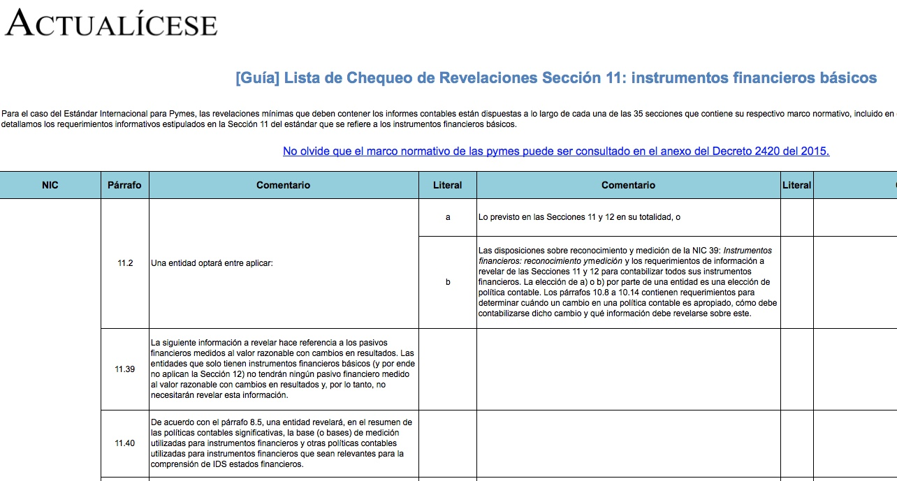 [Guía] Lista de Chequeo de Revelaciones Sección 11: instrumentos financieros básicos