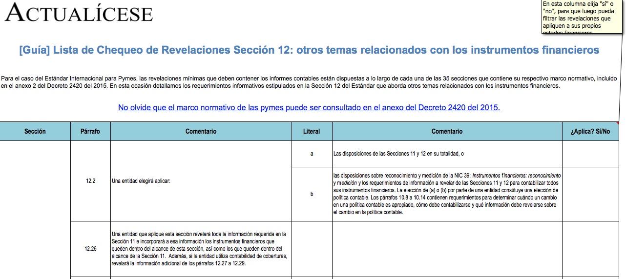 [Guía] Lista de Chequeo de Revelaciones Sección 12: otros temas relacionados con los instrumentos financieros