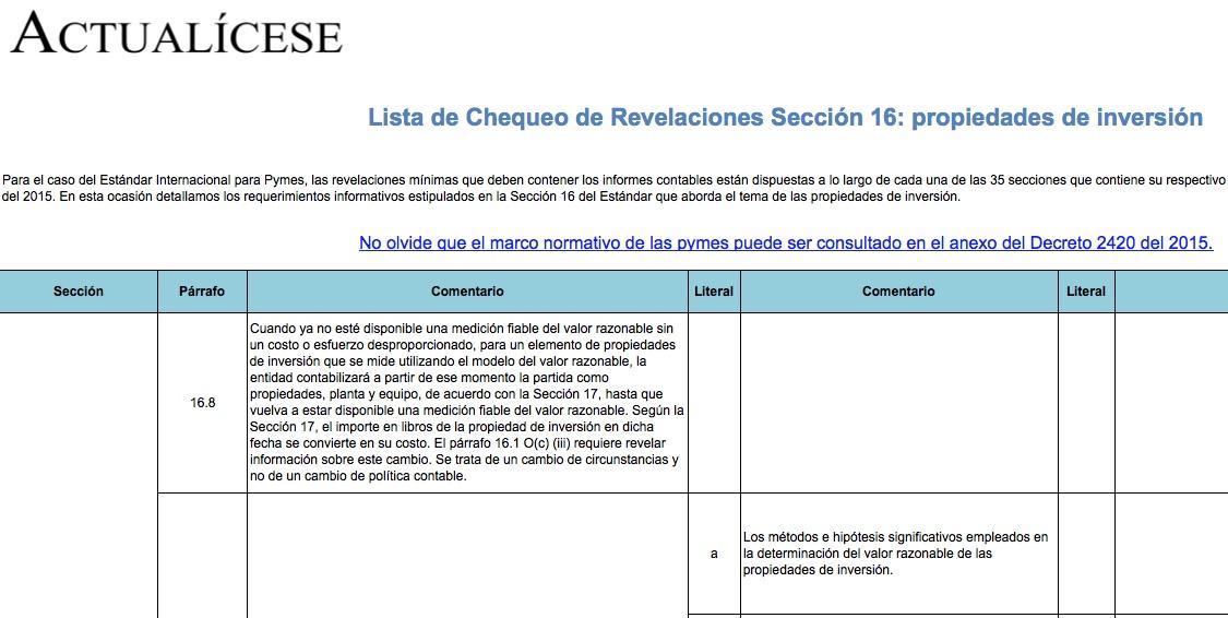 [Guía] Lista de Chequeo de Revelaciones Sección 16: propiedades de inversión
