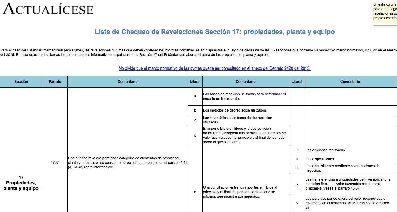 [Guía] Lista de Chequeo de Revelaciones Sección 17: propiedades, planta y equipo