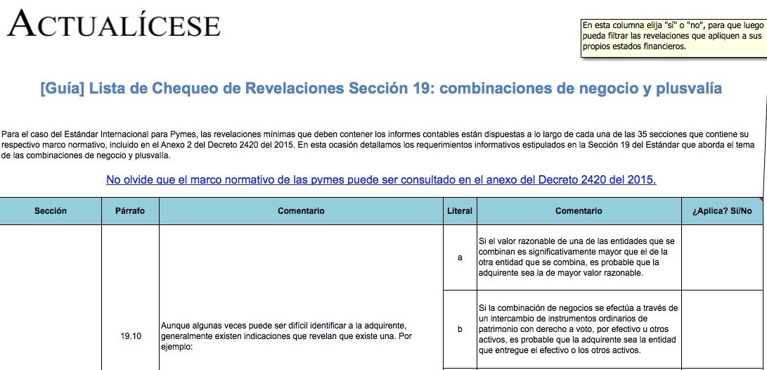 [Guía] Lista de Chequeo de Revelaciones Sección 19: combinaciones de negocio y plusvalía