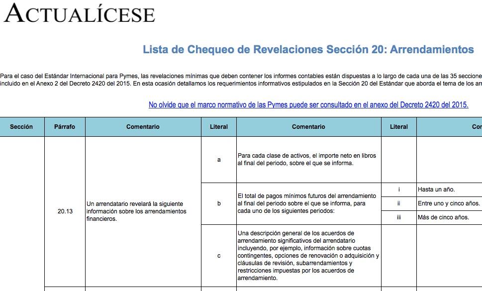 [Guía] Lista de Chequeo de Revelaciones Sección 20: Arrendamientos