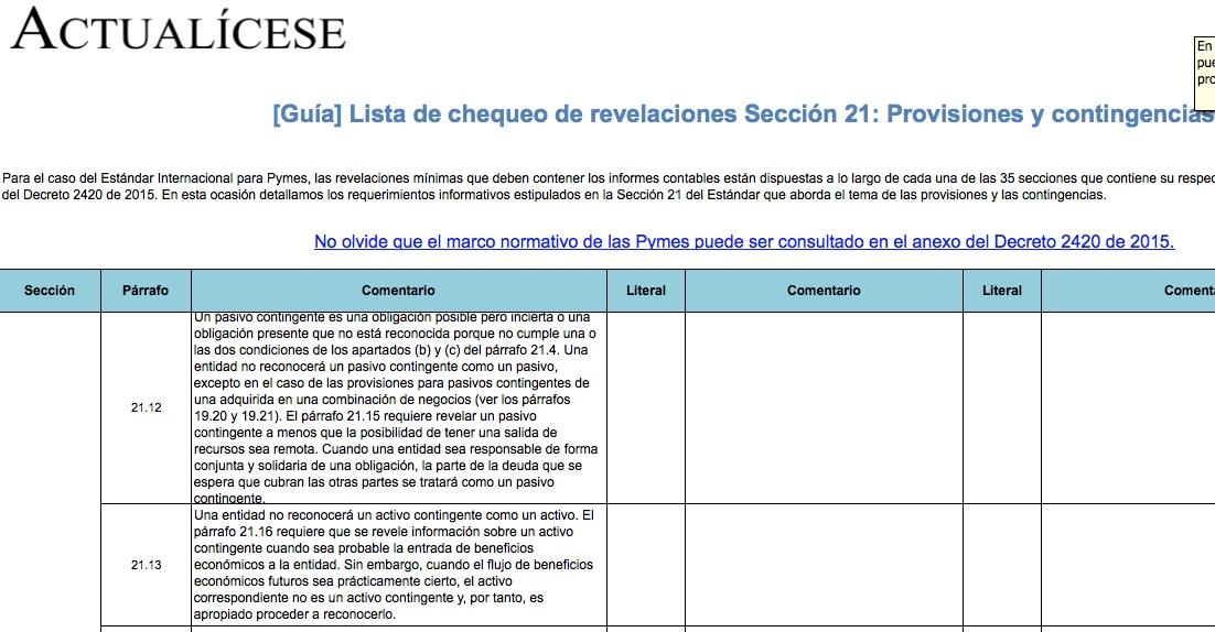[Guía] Lista de chequeo de revelaciones Sección 21: Provisiones y contingencias