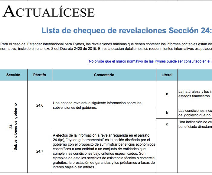 [Guía] Lista de chequeo de revelaciones Sección 24: subvenciones del gobierno