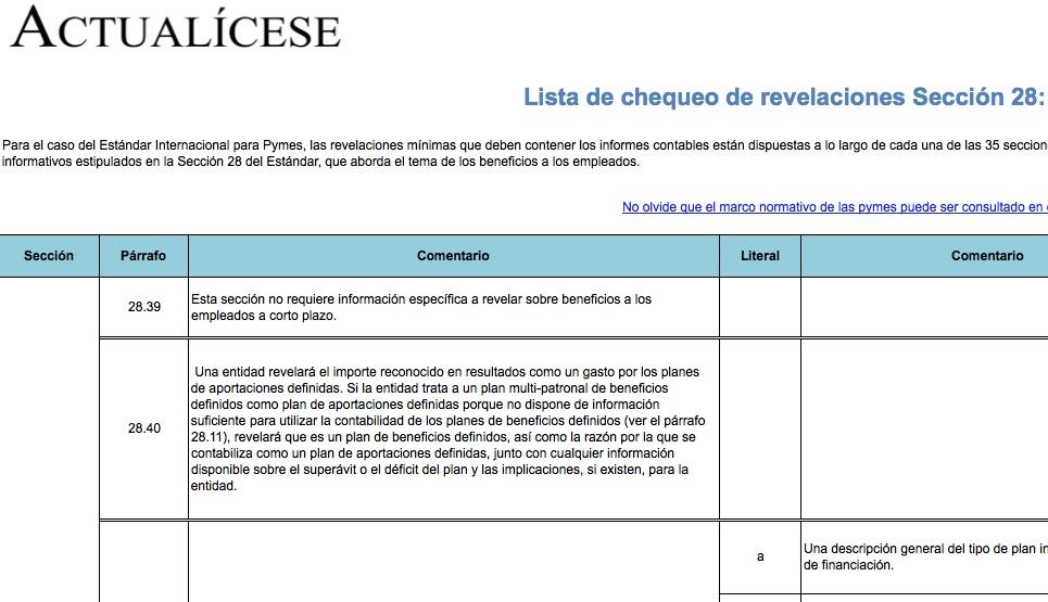 [Guía] Lista de chequeo de revelaciones Sección 28: beneficios a los empleados