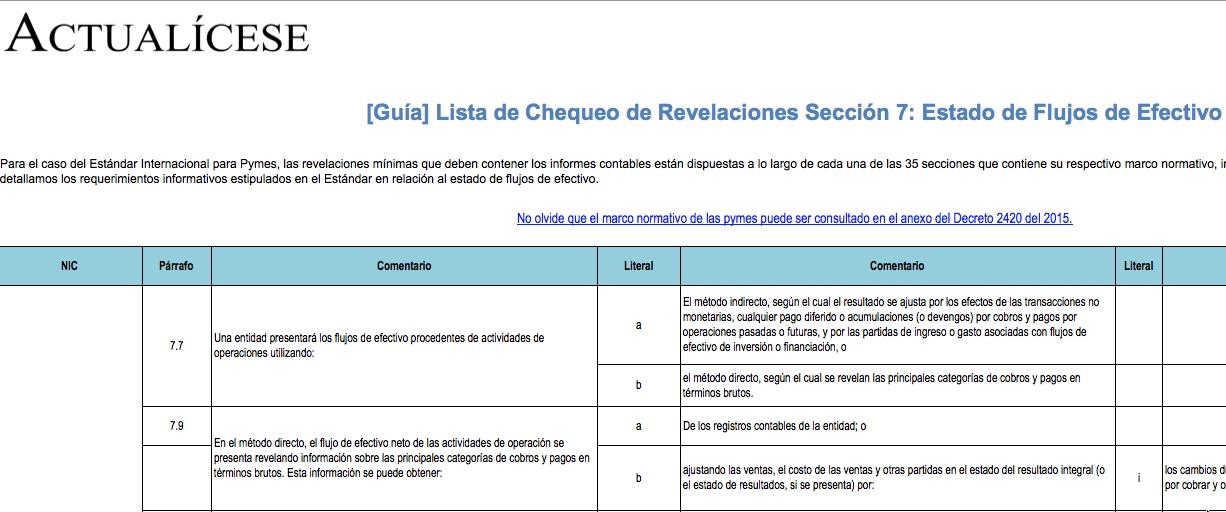 [Guía] Lista de Chequeo de Revelaciones Sección 7: Estado de Flujos de Efectivo
