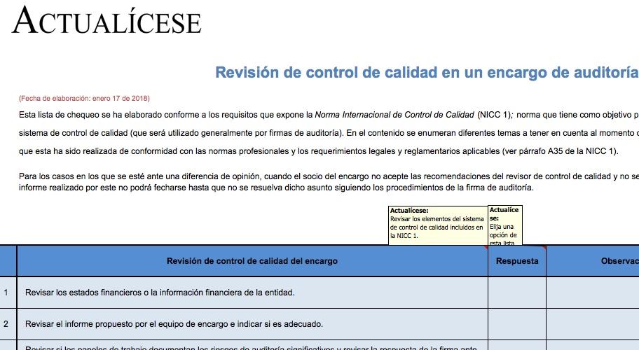 [Lista de chequeo] Revisión de control de calidad en un encargo de auditoría