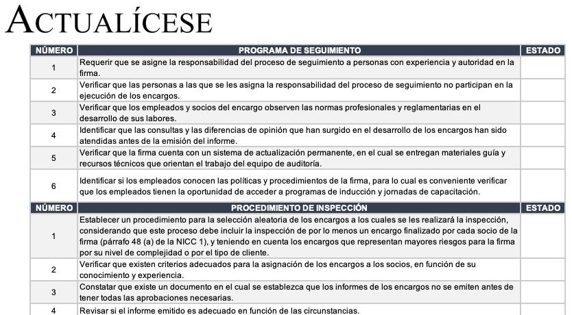 [Lista de chequeo] Seguimiento de control de calidad en un encargo de auditoría bajo NICC 1