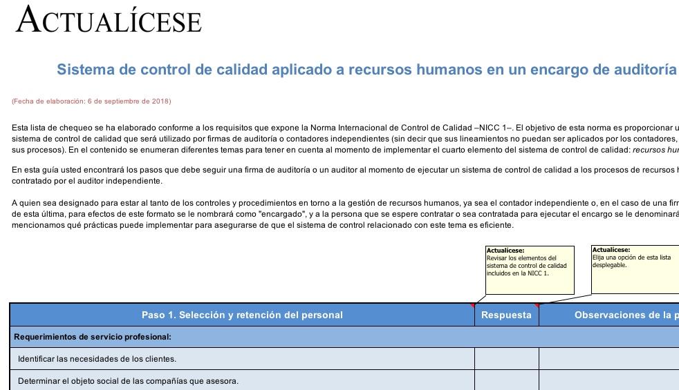 [Guía] Sistema de control de calidad aplicado a recursos humanos en un encargo de auditoría