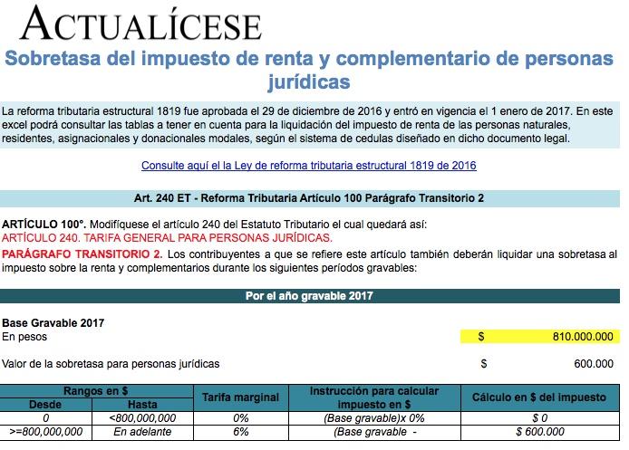 [Liquidador] Sobretasa del impuesto de renta y complementario de personas jurídicas