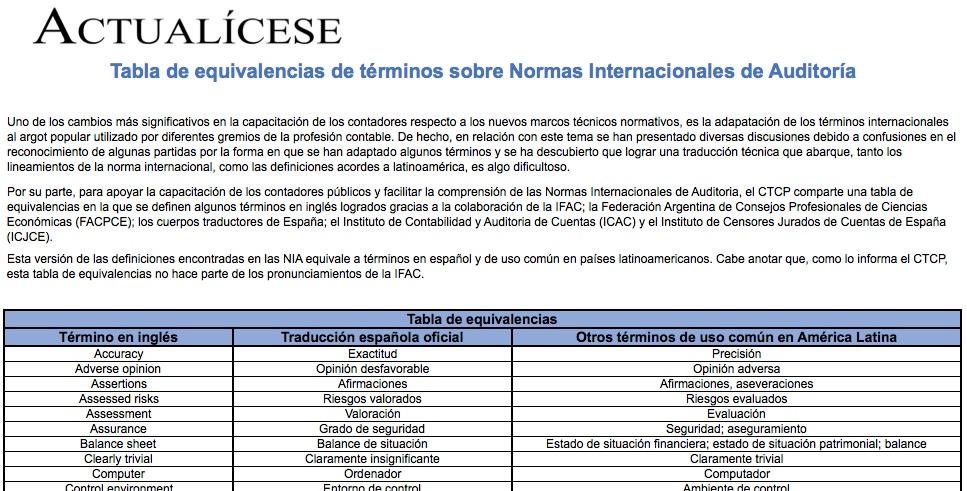[Guía] Tabla de equivalencias de términos sobre Normas Internacionales de Auditoría