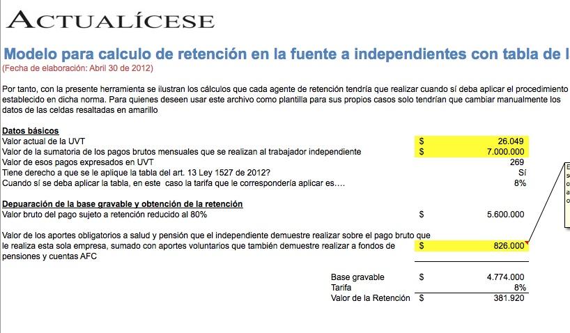 Modelo para cálculo de retención en la fuente a independientes con tabla de la Ley 1527 de 2012